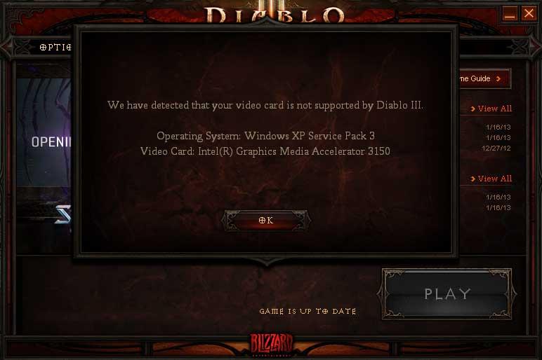 D510 PCではDiablo3は起動しない