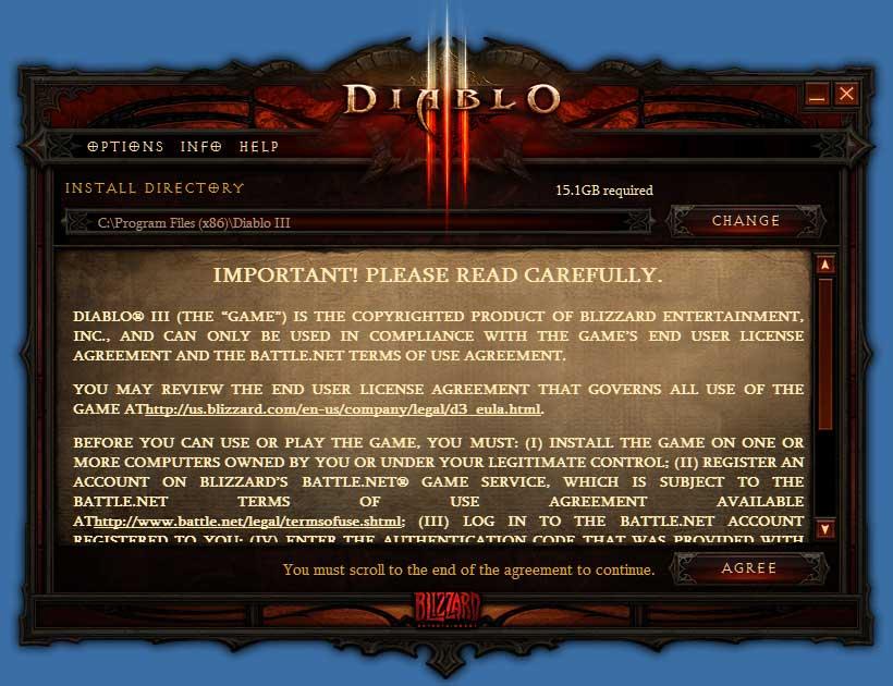 Diablo3 ライセンス同意