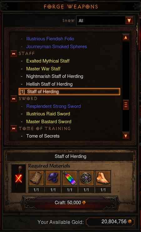 Staff of Herding クラフトに必要な素材