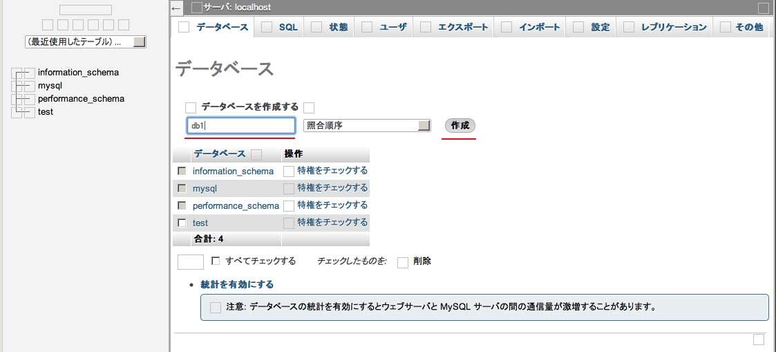 phpMyAdminを使って、新規MySQLデータベースを作成する。