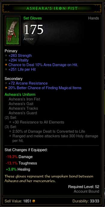 magic find 付き Asheara's Iron Fist
