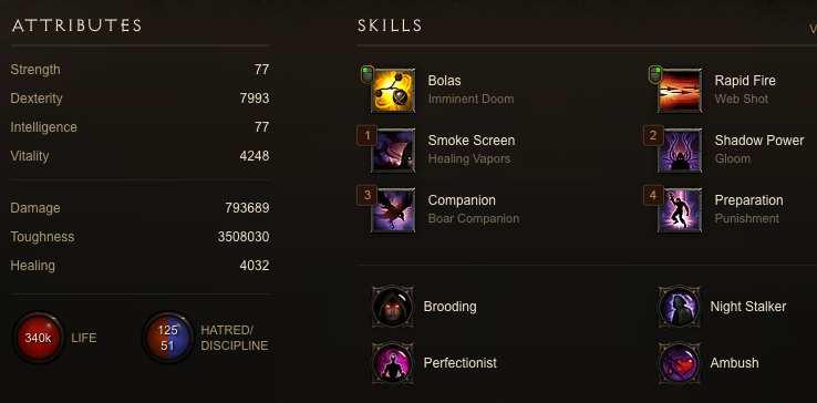 3rd Demon Hunter status and skill