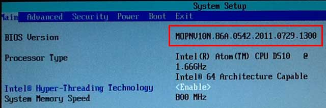 F2 BIOS画面で、ファームウェアが更新されたことを確認できました。
