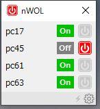 nWOL のマジックパケット送出画面